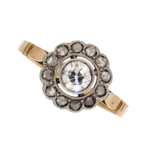 Victorian Diamond Daisy Cluster Ring