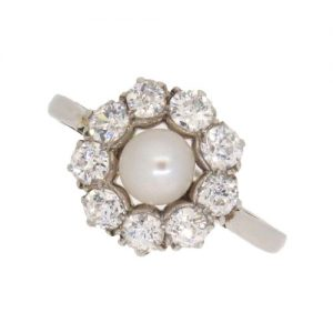 Edwardian Pearl and Diamond Daisy Cluster Ring