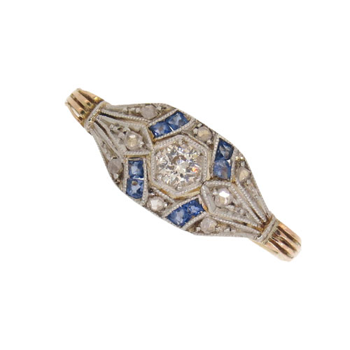Art Deco Sapphire and Diamond Cluster Ring
