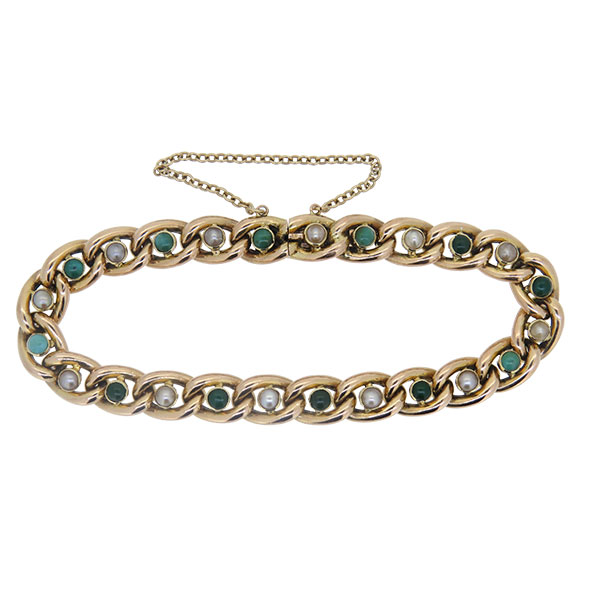 Victorian Turquoise and Pearl Gold Curb Link Bracelet