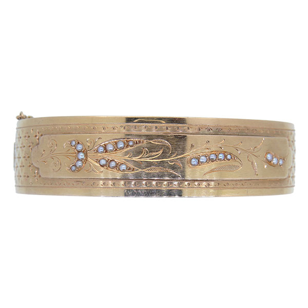 Victorian French Gold Pearl Half Hinged Bangle