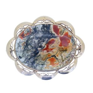 Pre Owned Gold Moss Agate Oval Brooch