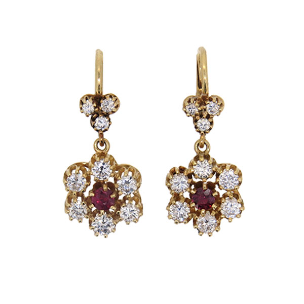 Pre Owned Ruby and Diamond Cluster Drop Earrings