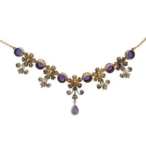 Victorian Amethyst, Peridot, Pearl and Diamond Pendant