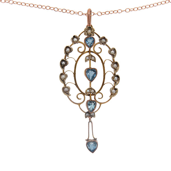 Victorian Gold Blue Paste and Pearl Pendant