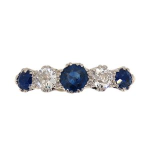 Edwardian Sapphire and Diamond Half Hoop Ring
