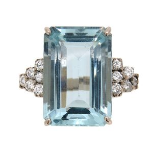 Pre Owned Aquamarine and Diamond Cocktail Ring