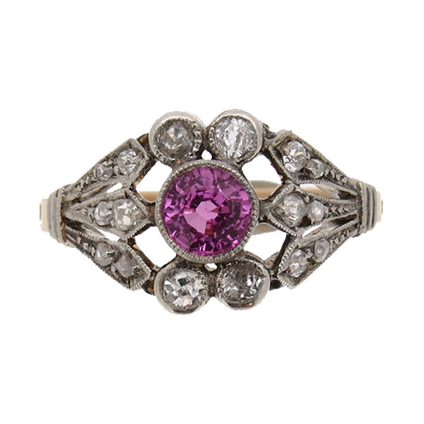 Edwardian Tourmaline and Diamond Cocktail Ring
