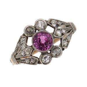 Edwardian Tourmaline and Diamond Cocktail Ring