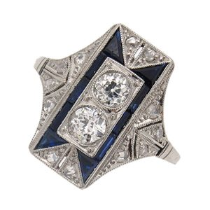 Art Deco Sapphire and Diamond Fancy Cocktail Ring