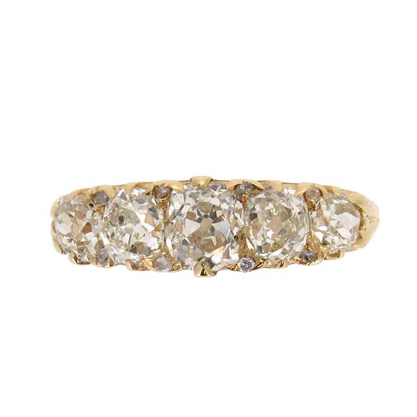 Victorian Diamond Half Hoop Ring