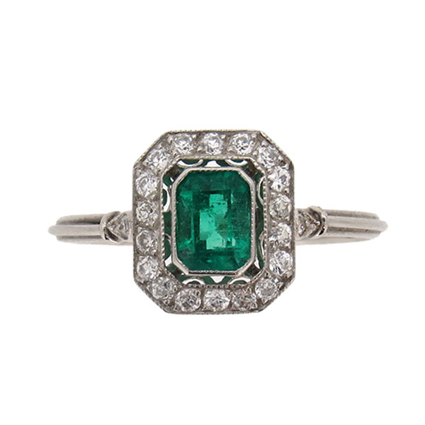 Art Deco Emerald and Diamond Cluster Ring