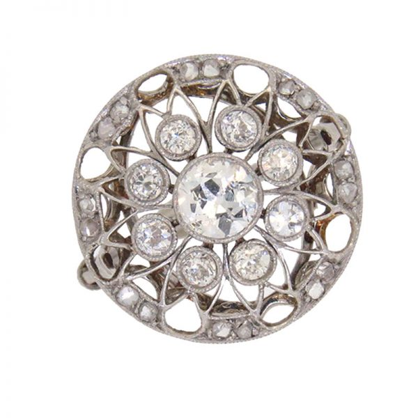 Edwardian Fretted Triple Row Diamond Cluster Ring