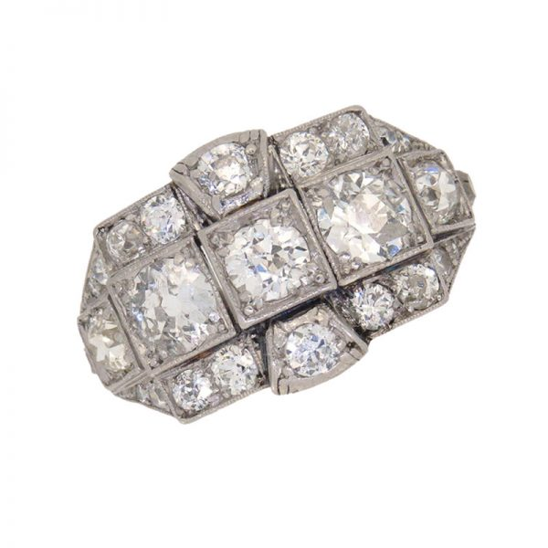 Art Deco Diamond Half Hoop Three Row Cocktail Ring