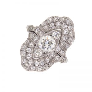 Art Deco Marquise Shaped Diamond Cluster Ring