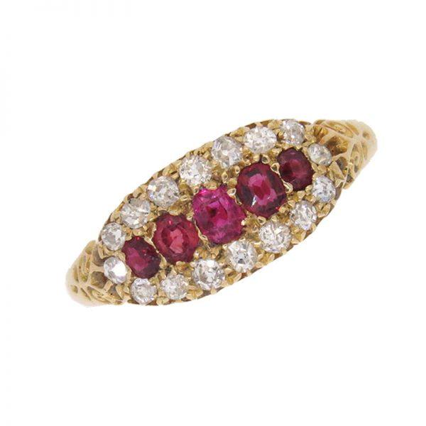 Victorian Triple Row Ruby and Diamond Half Hoop Ring