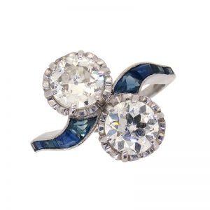 Art Deco Sapphire and Diamond Two stone Crossover Ring