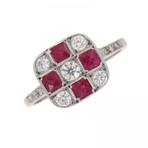 Pre Owned Ruby and Diamond Cluster Ring