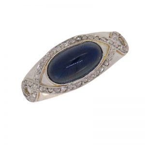 Art Deco Sapphire and Diamond Fancy Ring