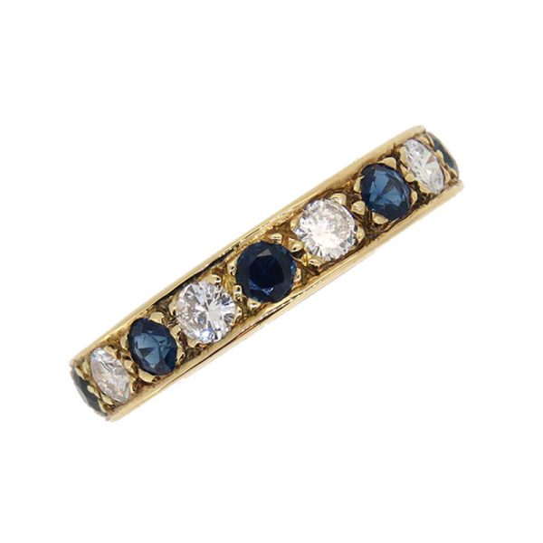 Pre Owned Sapphire and Diamond Full Hoop Ring