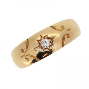 Victorian Solitaire Diamond Gypsy Ring