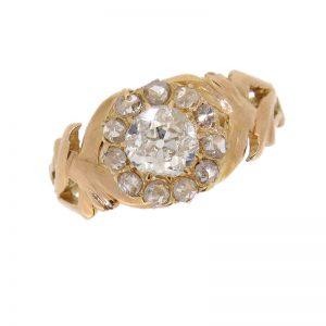 Victorian Unusual Diamond Cluster Ring