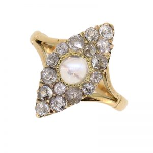 Victorian Marquise Moonstone and Diamond Cluster Ring