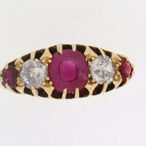 Edwardian Ruby and Diamond Half Hoop Ring