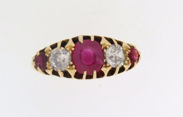 Edwardian Ruby and Diamond Half Hoop Ring