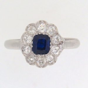 Edwardian Sapphire and Diamond Cluster Ring