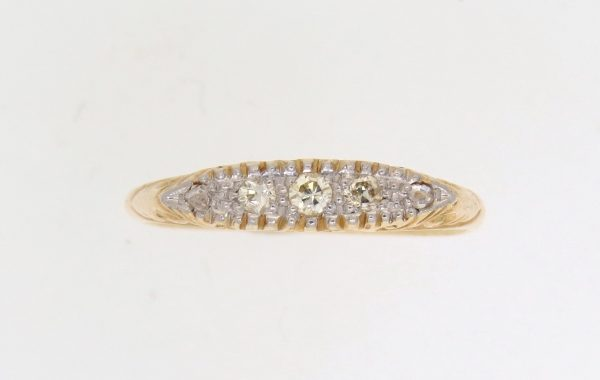 Victorian Diamond Half Hoop Ring
