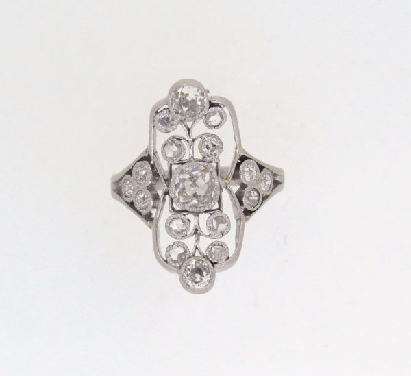Victorian Diamond Finger Line Cluster Ring