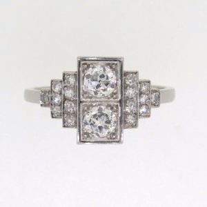 Art Deco Platinum Diamond Cluster Ring