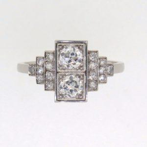 Art Deco Platinum Diamond Cluster Ring