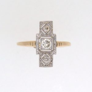 Art Deco 18ct Gold Fingerline Three Stone Diamond Ring