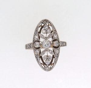 Edwardian Floral Design Diamond Cluster Ring