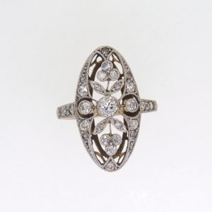 Edwardian Floral Design Diamond Cluster Ring