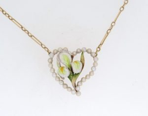 Art Nouveau Enamel and Pearl Heart Pendant