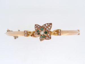Victorian Emerald and Pearl Ivy Leaf Bangle