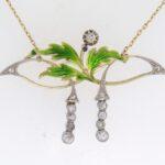 Art Nouveau Enamel And Diamond Pendant