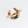 Victorian Yellow Gold Diamond,Ruby And Sapphire Horse Shoe Ring