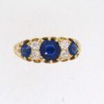 Victorian Sapphire And Diamond Half Eternity Ring