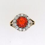 Victorian Fire Opal And Diamond Cluster Ring
