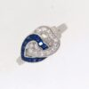 1920's Sapphire And Diamond Double Heart Ring