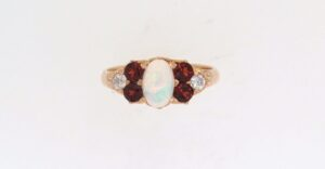 Pre Owned Opal, Garnet And Diamond Dress Ring