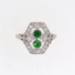 Art Deco Diamond And Demantoid Garnet Cluster Ring