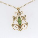 Victorian 15ct Yellow Gold Peridot And Pearl Pendant