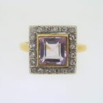 Victorian Sapphire And Diamond Square Cluster Ring