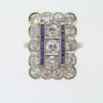 Edwardian Sapphire And Diamond Finger line Cluster Ring