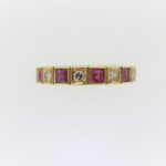 Pre Owned Ruby And Diamond Half Eternity Ring